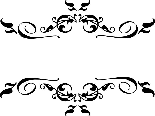 Black heart and bows corner borders black swirl border clip art