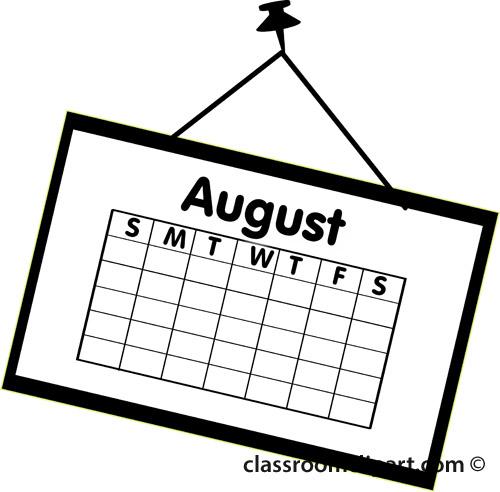 Calendar calendar august outline classroom clipart clipartbold