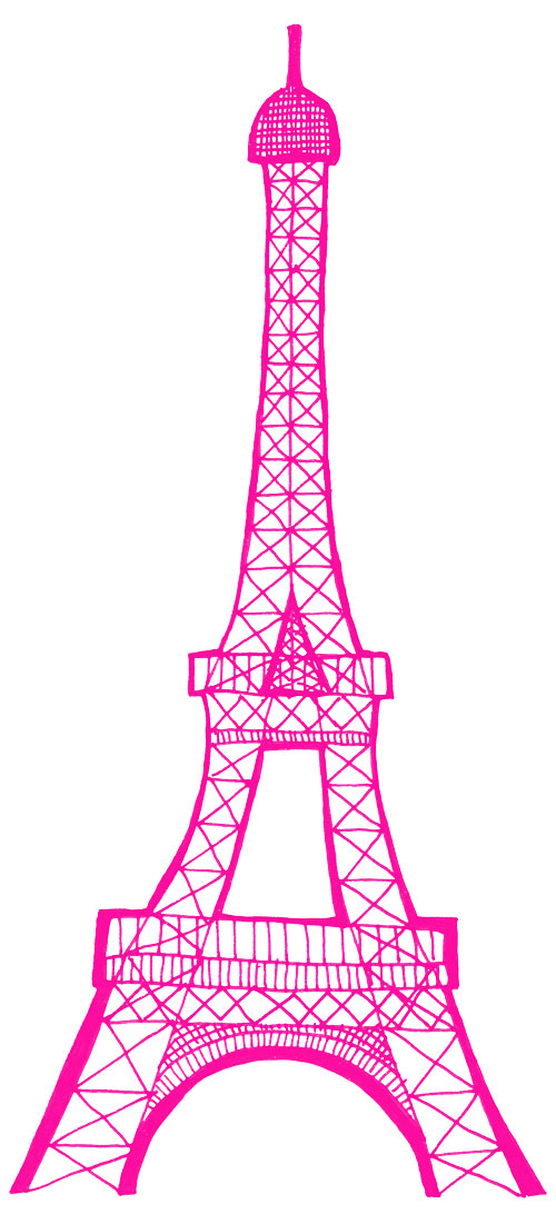 Eiffel tower sketch pink dromggi top clipart