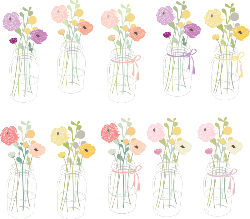 Mason jar clip art with flowers 2