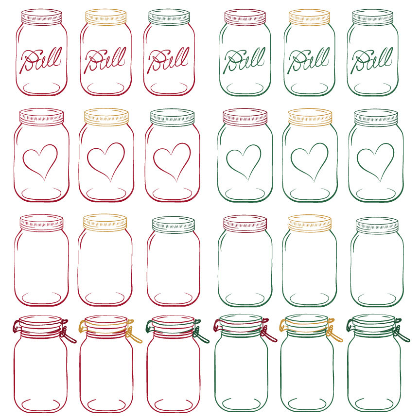 Mason jar clipart in christmas mandy art market