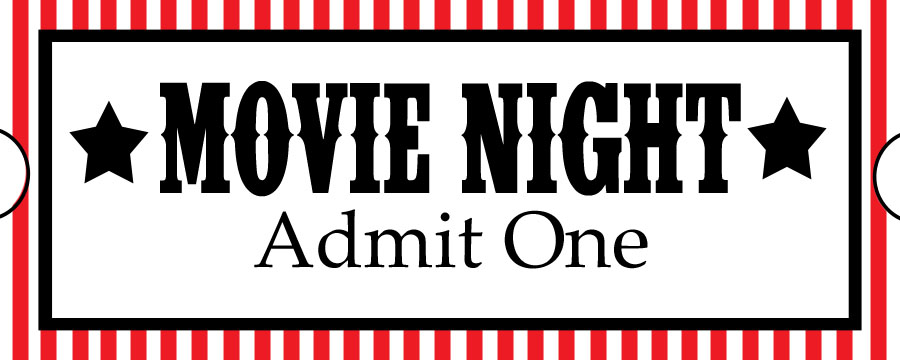 Movie night ticket clipart
