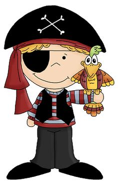 Pirate girl with telescope pirate clip art