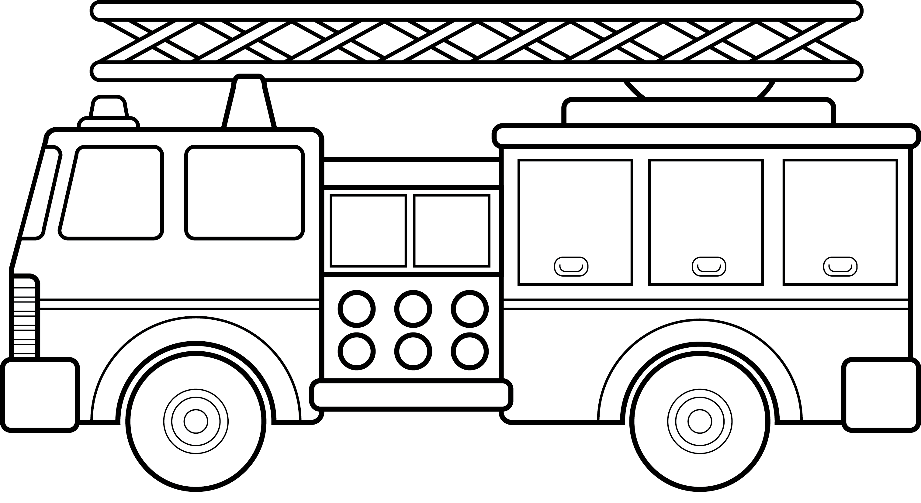 Fire truck cars and trucks clip art black and white car 2 top