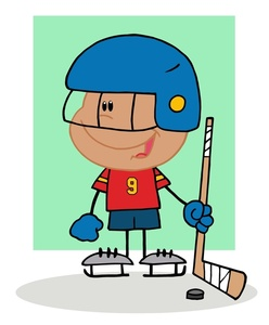 Hockey clipart image a smiling young boy playing ice hockey
