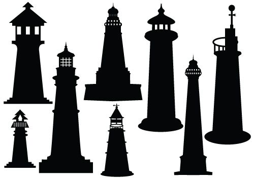 Ideal lighthouse silhouette vector download silhouette clipart