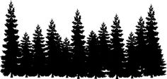 Pine tree silhouette clip art cliparts accent wall mural 3