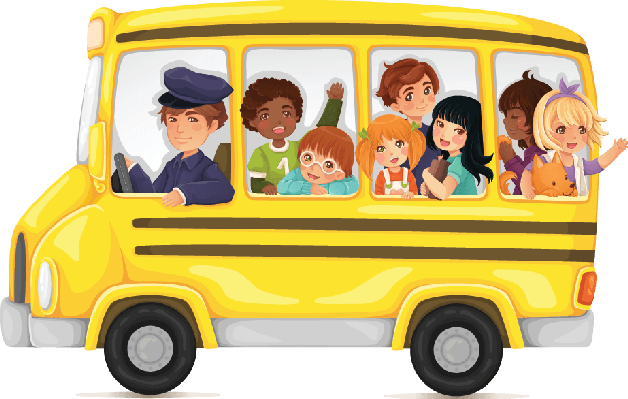 Yellow school bus full of cute and happy kids clipart the arts