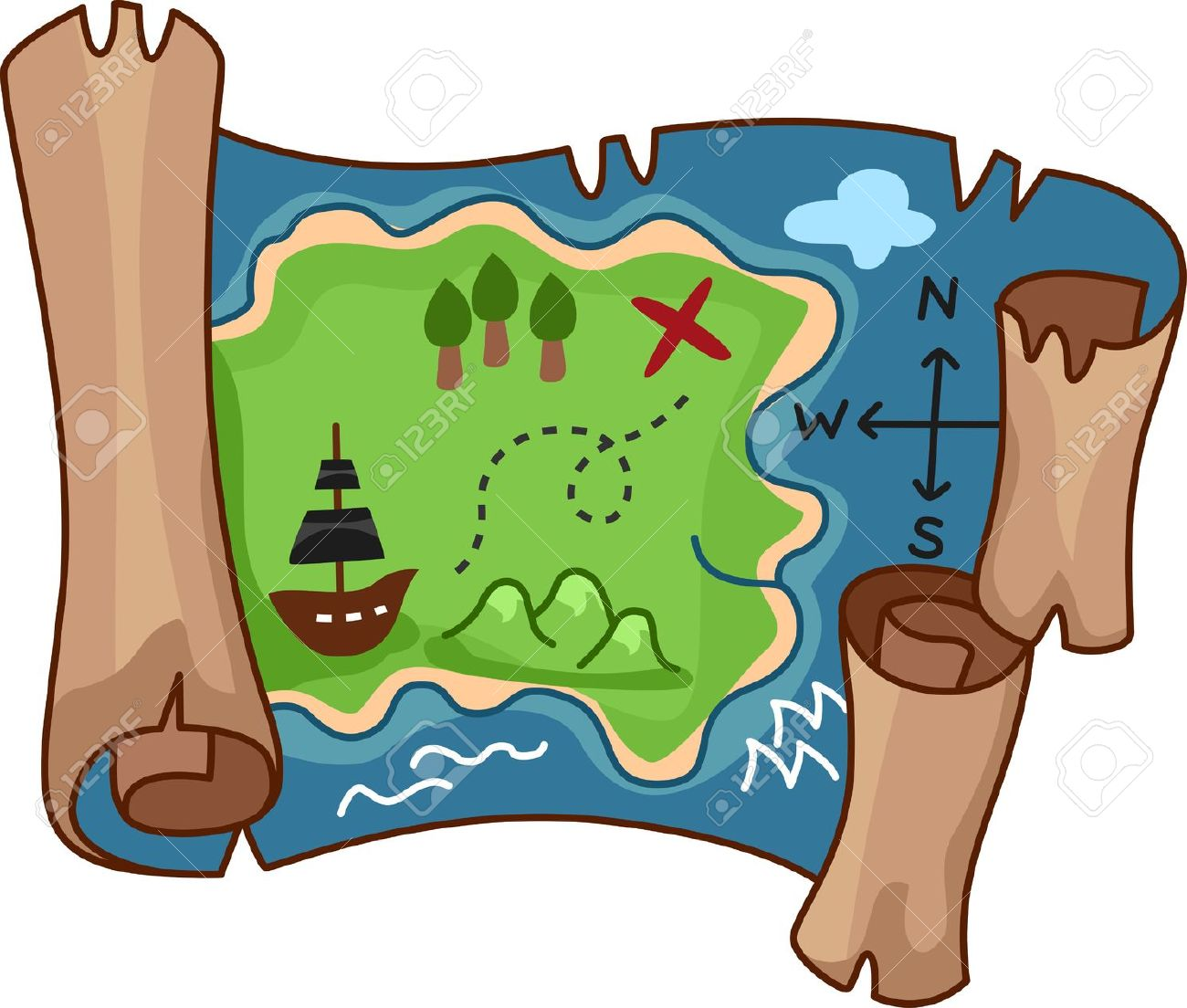A scroll treasure map by free rf clipart - Clipartix on map symbols, map icons, map logos, map cartoons, traffic art, map of continents, map of texas,