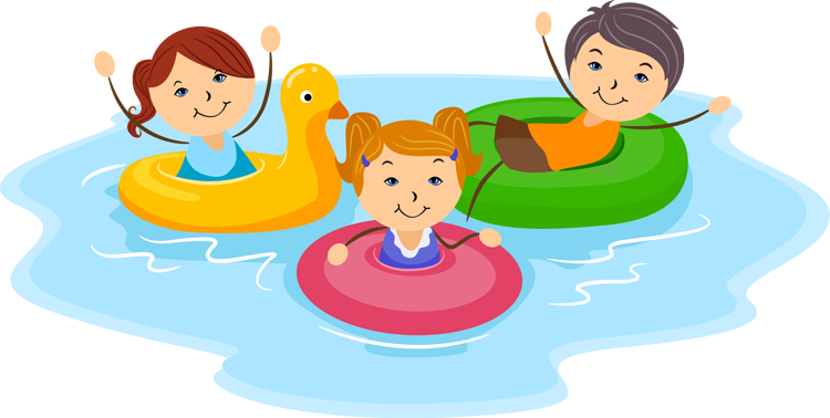 Cartoon pictures of kids playing at the pool clipart