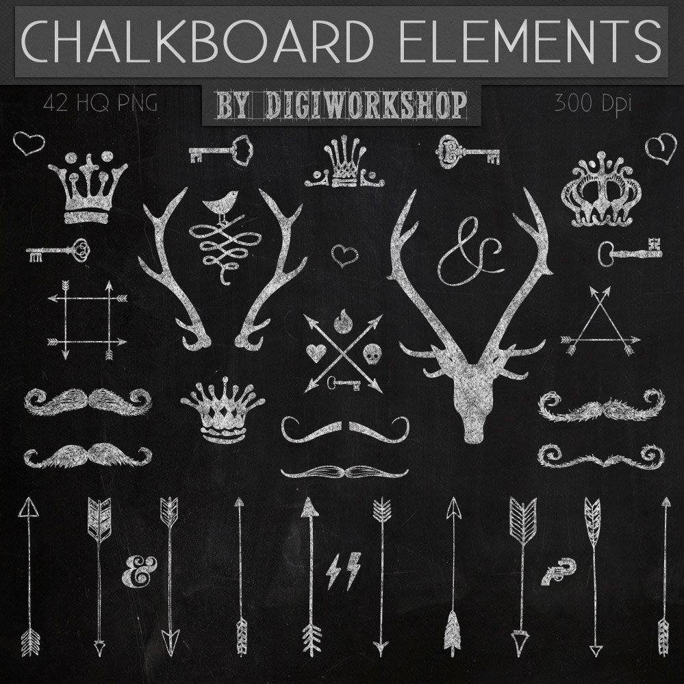 Chalkboard clipart clip art chalkboard elements with crown