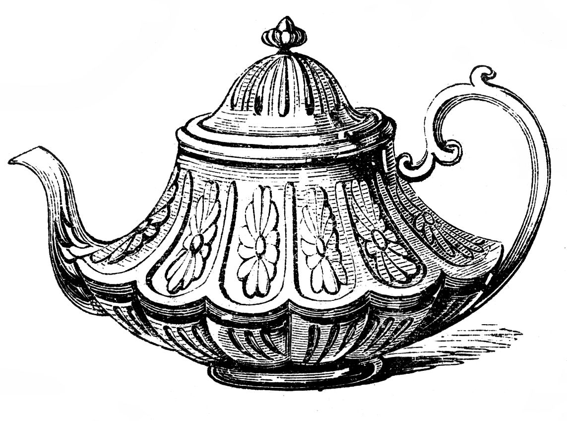 Free vintage clip art 2 ornate teapots the graphics fairy 2