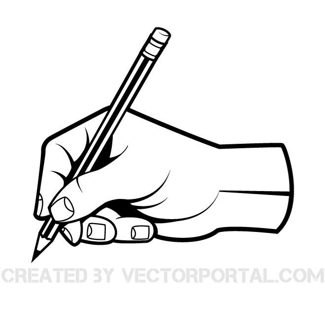 Hand with pen clipart