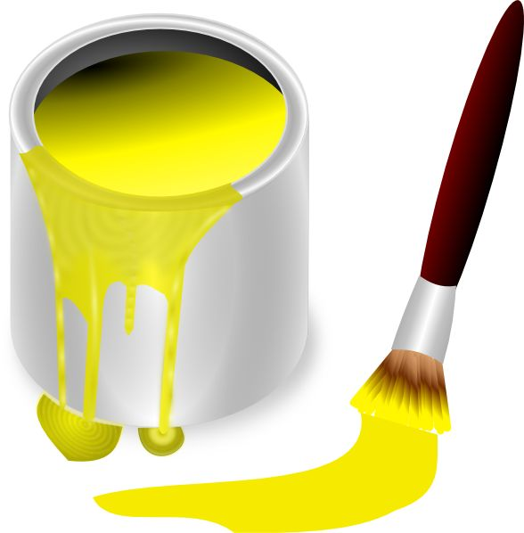 Paintbrush yellow paint yellow paint with paint brush clip art everything