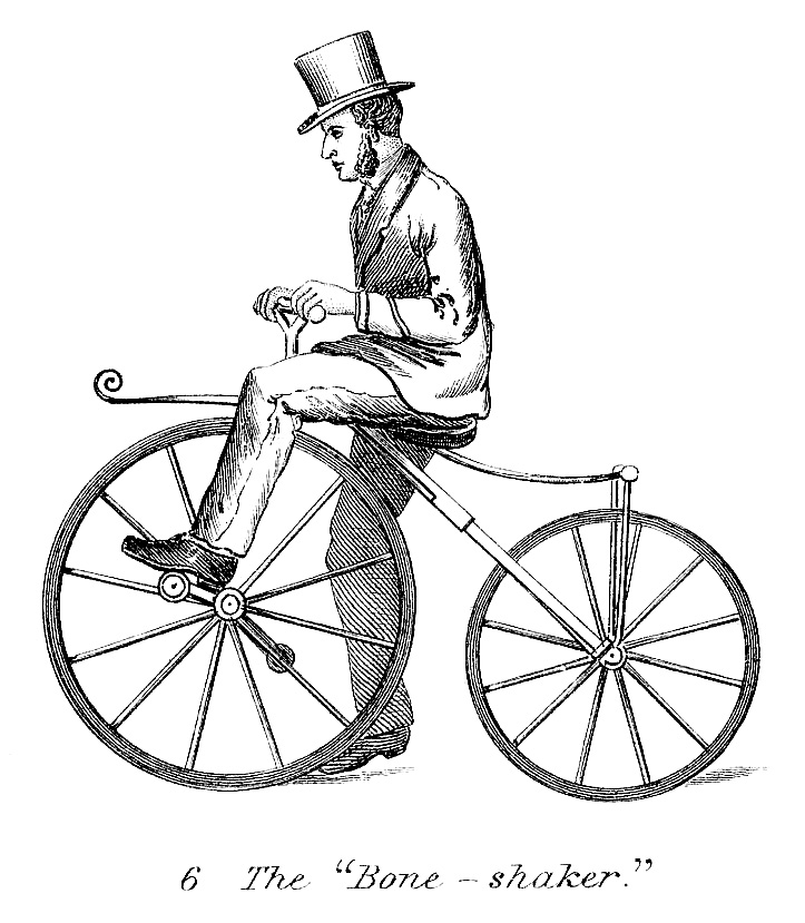 Vintage clip art man on early bicycle steampunk the graphics