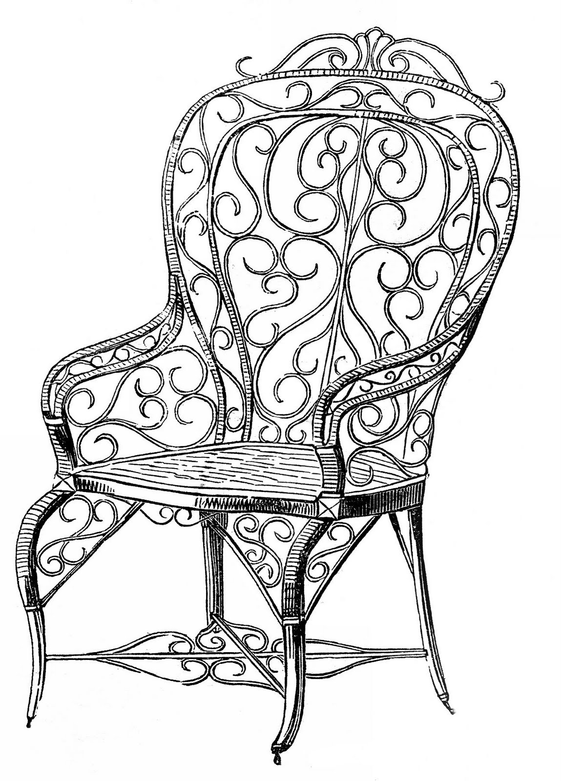 Vintage clip art wicker garden chair the graphics fairy