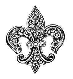 Vintage frrench free clip art black and white fleur de lis outline
