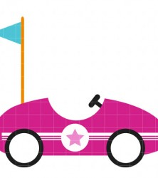 Pink race car clipart