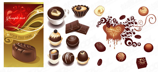 A variety of chocolate clip art vector