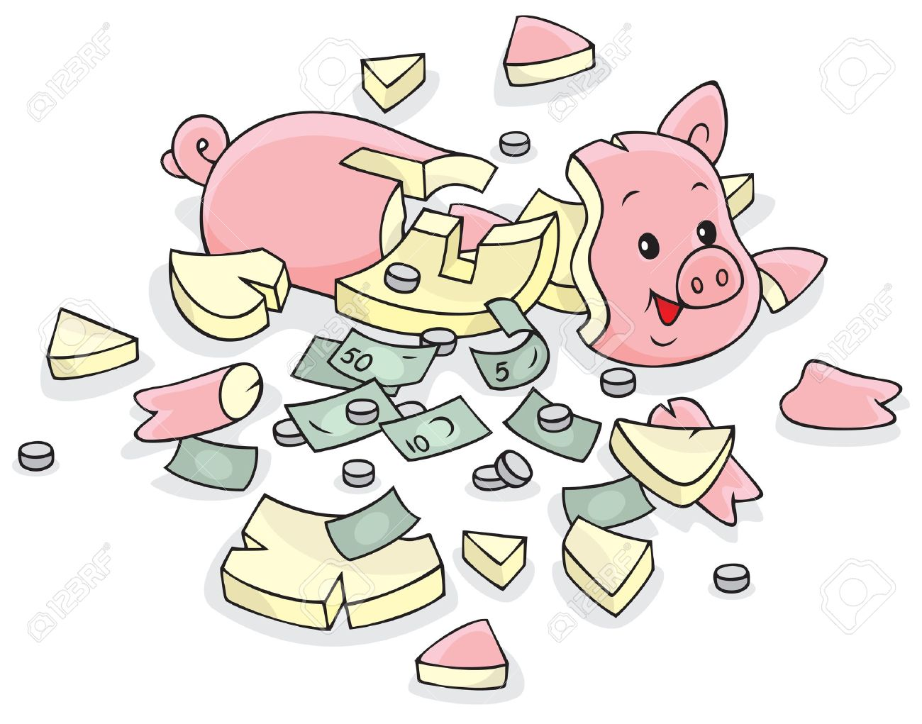 Breaking piggy bank clipart