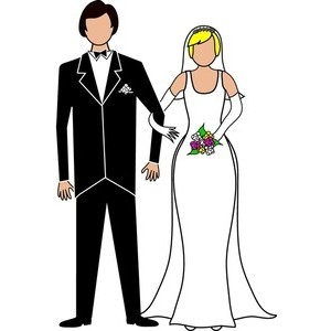 Bride and groom clipart black and white free 2