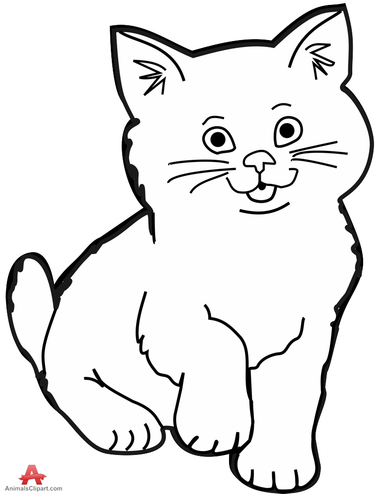 Contour drawing of little kitten cat free clipart design download
