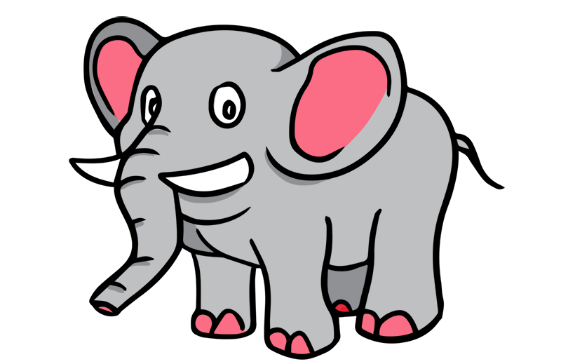 Elephant clip art black and white free clipart 7
