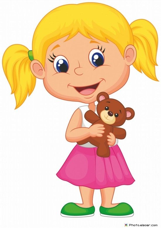 Little girl holding bear stuff kids clip art funny