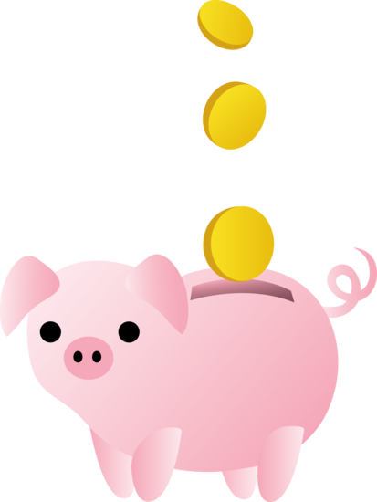 Piggy bank with coins free clip art