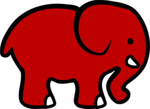 Red elephant clipart