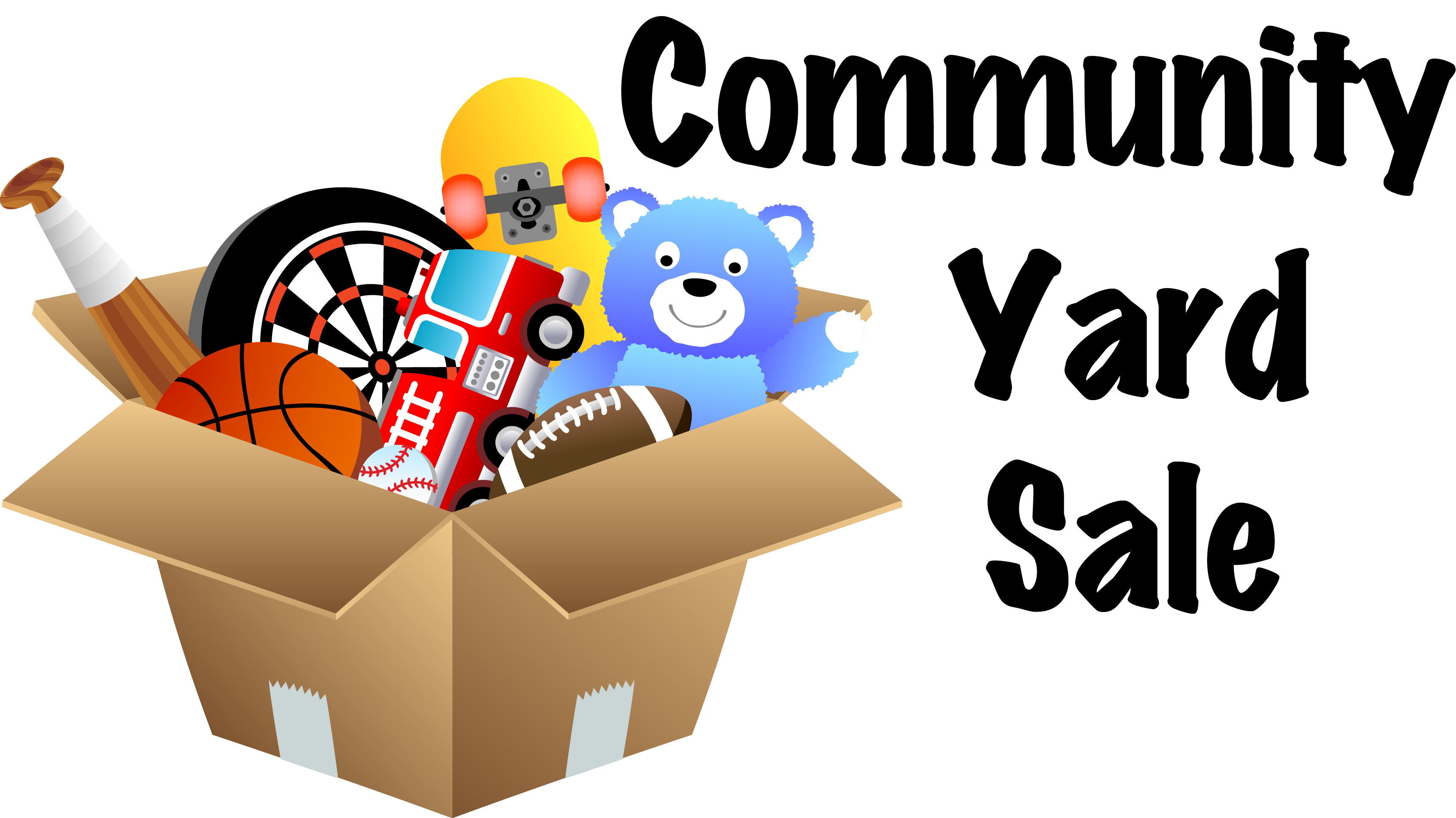 Community yard sale signs clipart