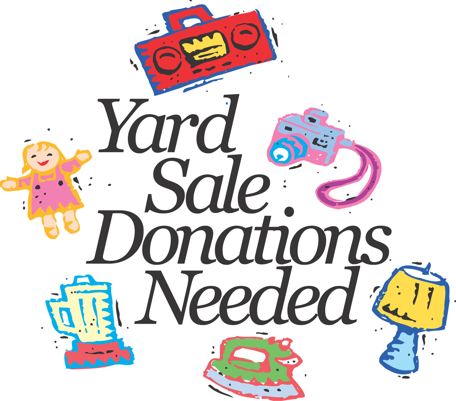 Yard sale church garage sale clipart