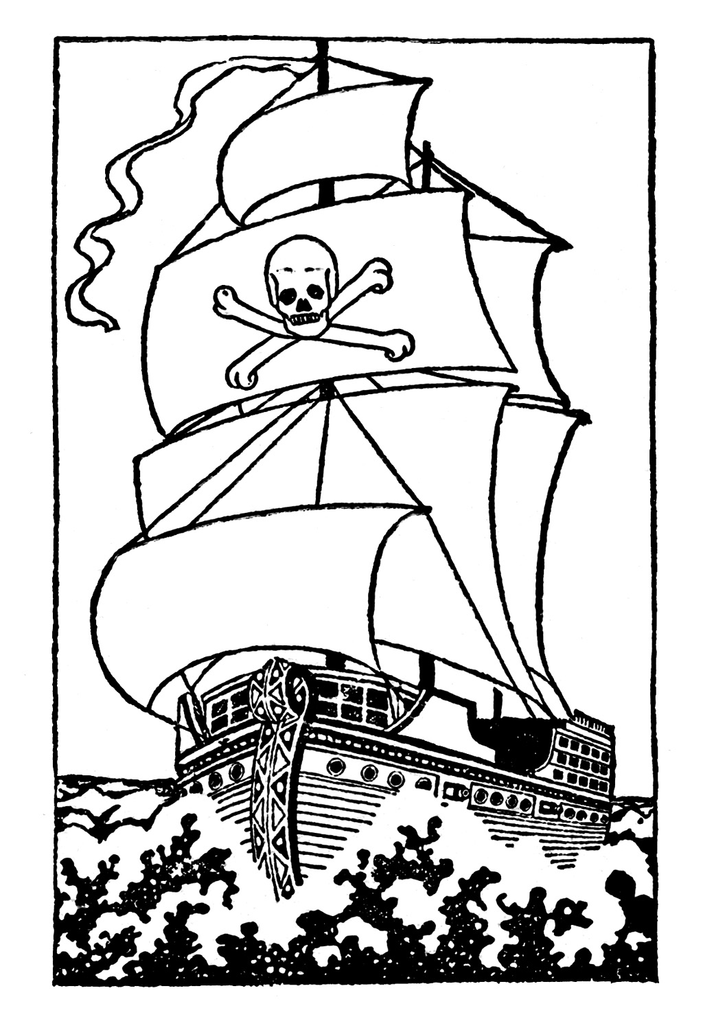Black and white clip art pirate ship the graphics fairy