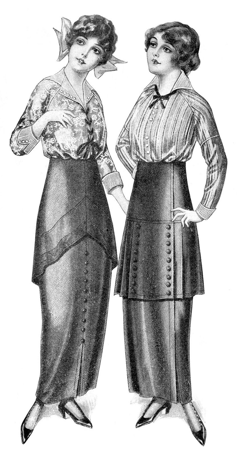 Black and white fashion clip art edwardian dresses the