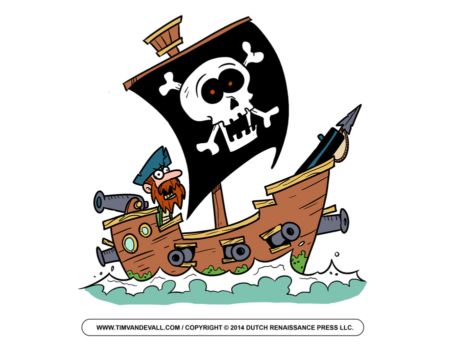 Cartoon pirate ship clipart kid 2