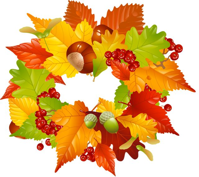 Colorful clip art for the fall season leaves wreath