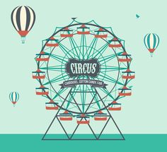 Creative ferris wheel paper cut vector material amusement park cliparts