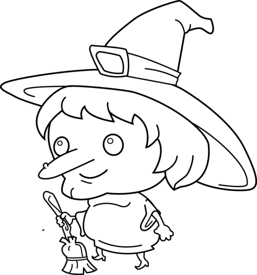 Cute witch coloring page free clip art