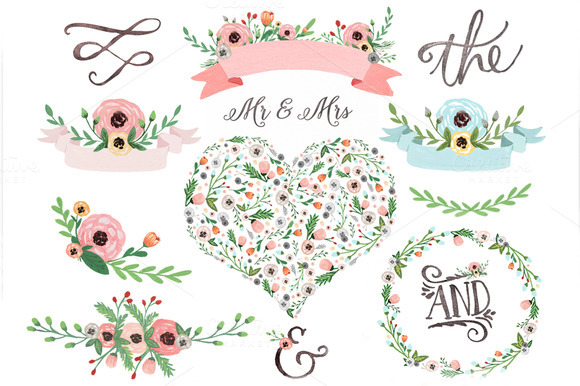 Floral fresca watercolor flower clip art illustrations on creative market