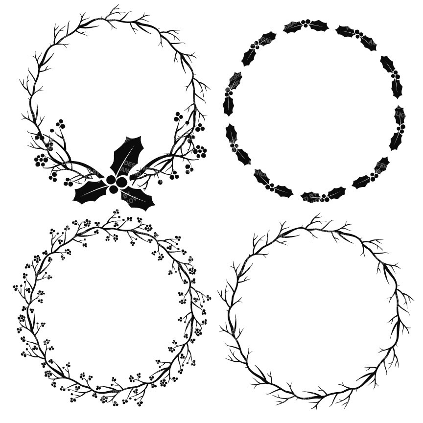 Holly wreaths clipart in black mandy art market