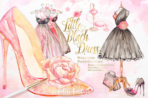 Little black dress fashion clipart illustrations on creative market
