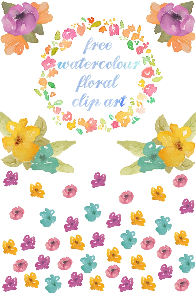 More free watercolour floral clip art gathering beauty
