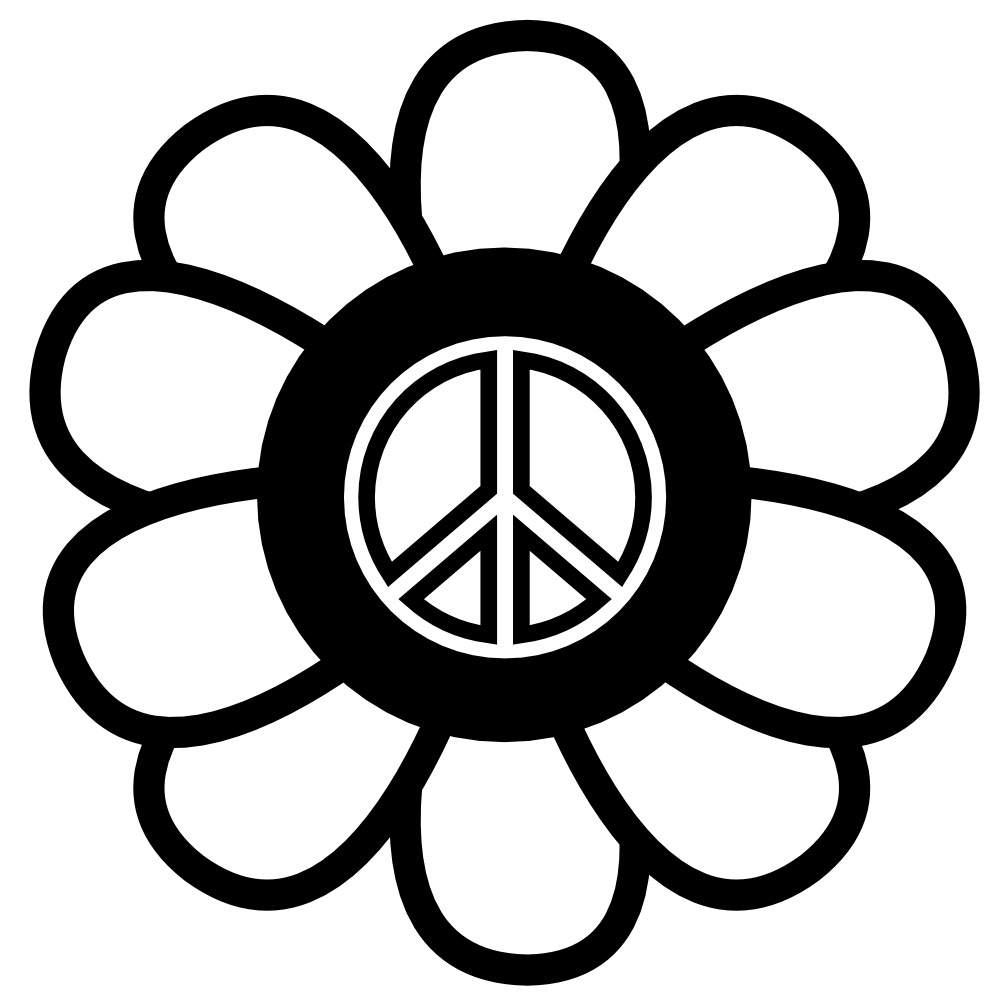 Peace sign black and white clipart kid