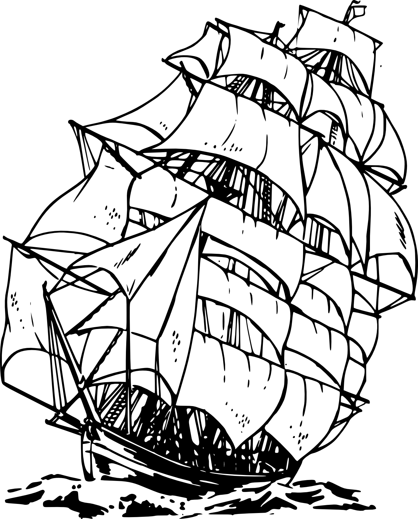 Pirate ship clipart black and white free 5