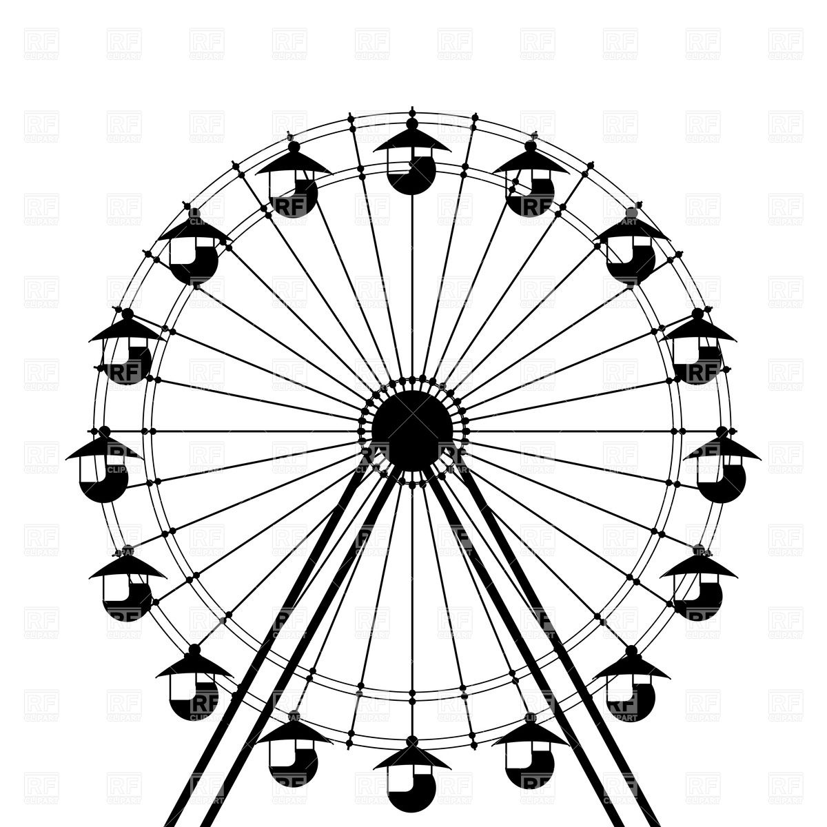 Silhouette of ferris wheel holiday download free clipart