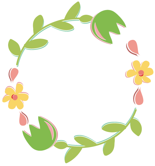 Spring flower wreath clipart