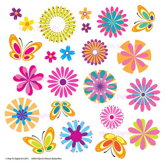 Spring flowers clipart butterfly floral vector digital
