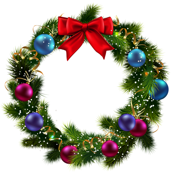 Transparent christmas decorated wreath clipart 3d