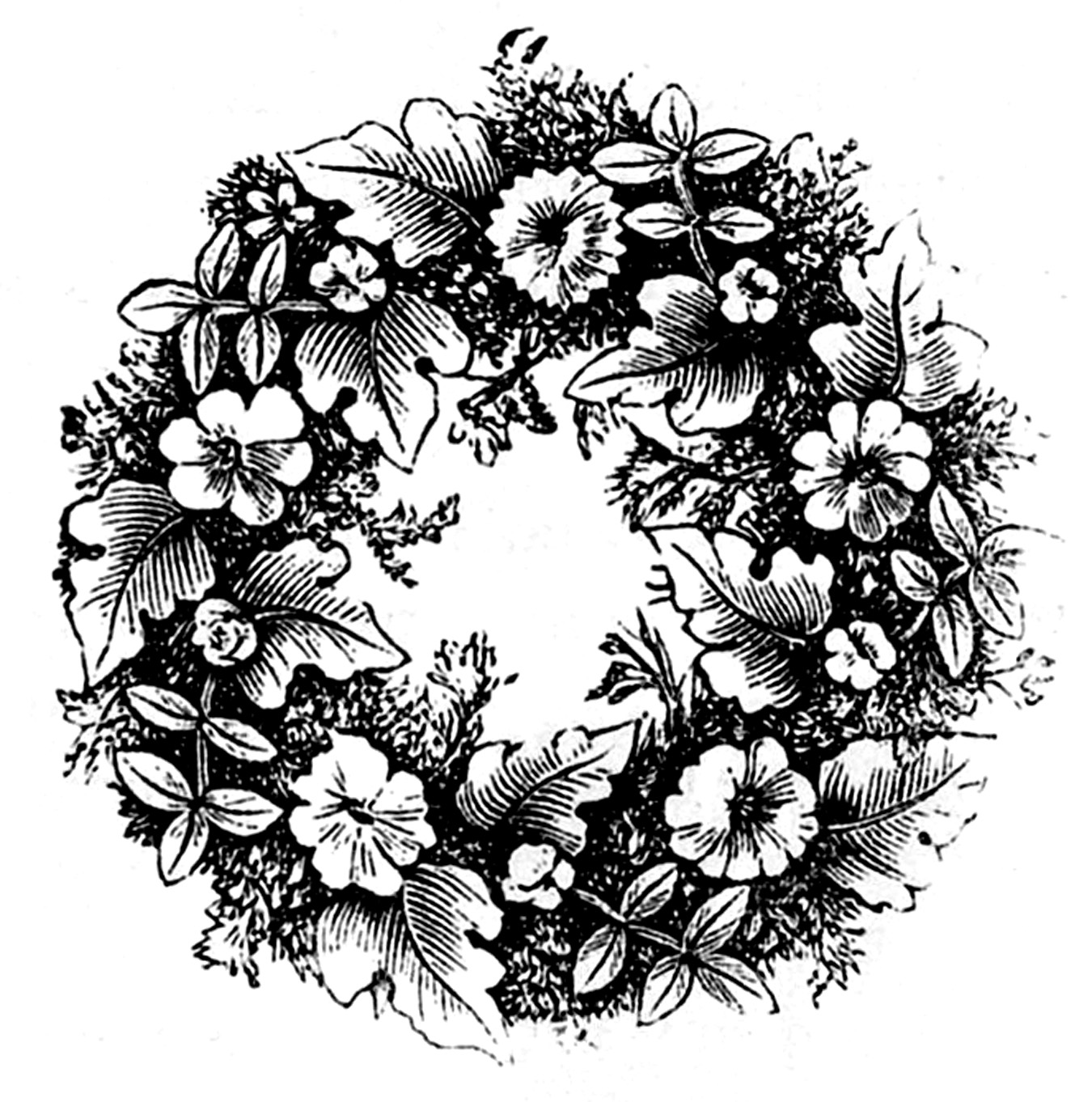 Vintage clip art floral wreaths the graphics fairy