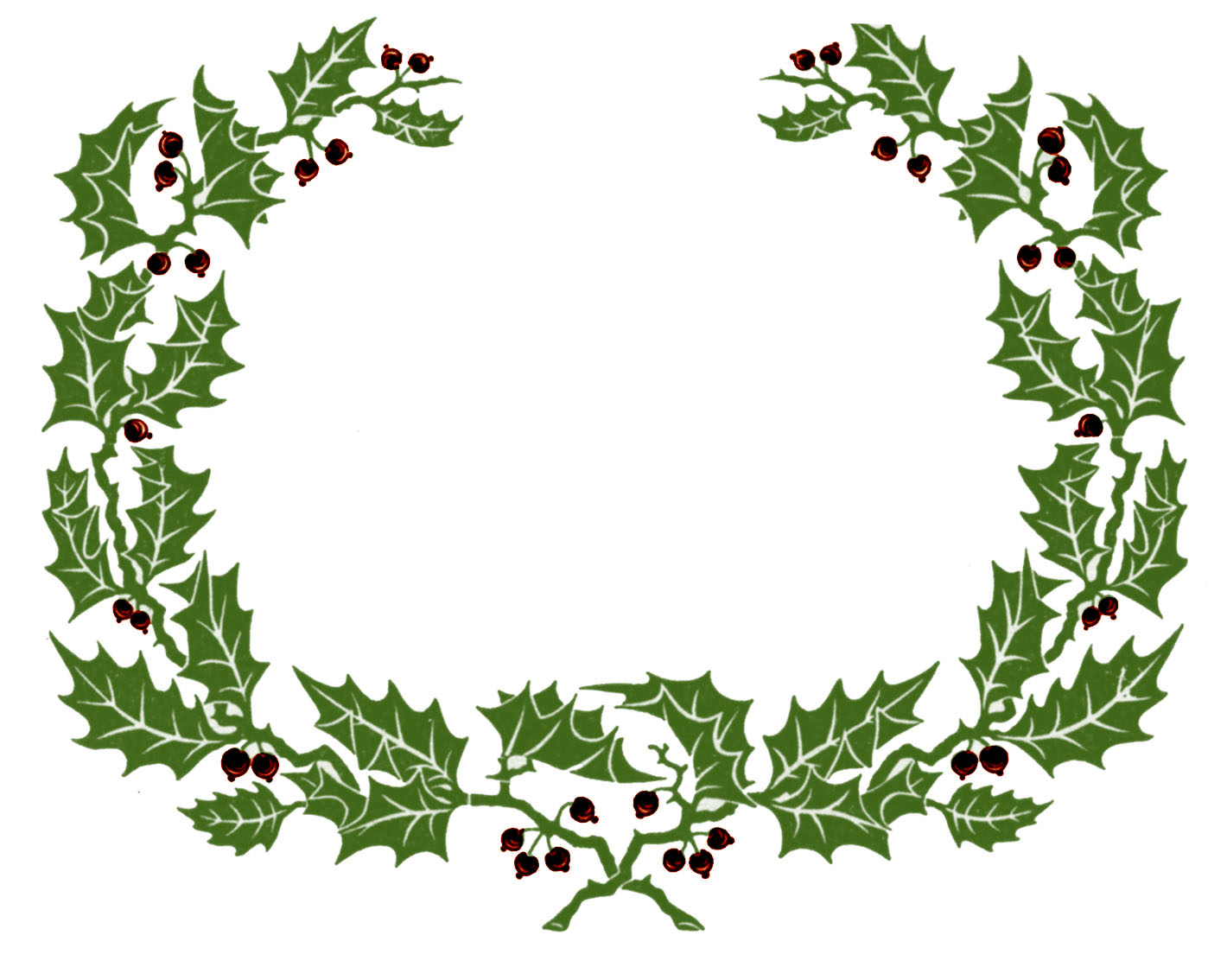 Vintage clip art holly wreath graphic frame the graphics fairy